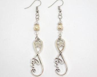 Dangle earrings infinite love, Star and Swarovski crystals