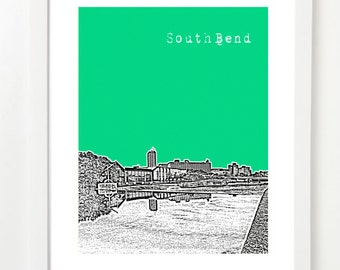South Bend Indiana Art Print  - South Bend Skyline Poster - Downtown South Bend