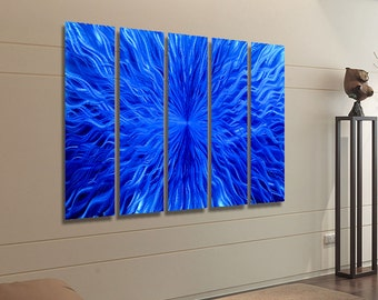 Blue Multi Panel Wall Art, Contemporary Wall Sculpture, Huge Indoor Outdoor Metal Wall Art Painting - Blue Vortex Epic by Jon allen