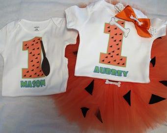 Pebbles and Bam Bam Birthday outfits/Flintstones birthday bodysuits or shirts/Pebbles Tutu