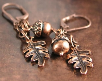 Copper Acorn Earrings Antique Copper Oak Leaf Earrings Autumn Acorn Dangle Drop Earrings Fall Fashion Rustic Copper Earrings Acorn Jewelry