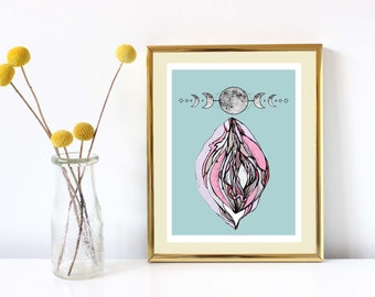 High Quality limited moon vulva print - on handmade cotton paper.