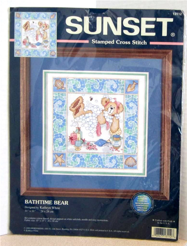 Bath Time Bear Stamped Cross Stitch Complete Kit by Dimensions ...