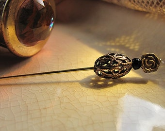 Brass Rose and Filigree Victorian Edwardian Stick Pin or Ascot Pin