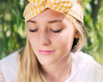 Yellow Gingham Wire Headband, Dolly Bow, 1950s Pin Up Rockabilly Hair Wrap, Twist Hair Scarf, Bandana, Headband,  Hair Tie