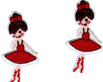 2 Embroidered Ballet Dance Patches  Ballerina Iron on Sew On Appliques