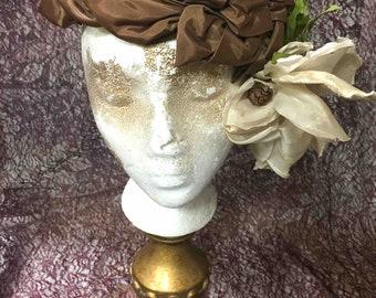 Hat, Satin, Ribbon, Fabric Flower. Vintage