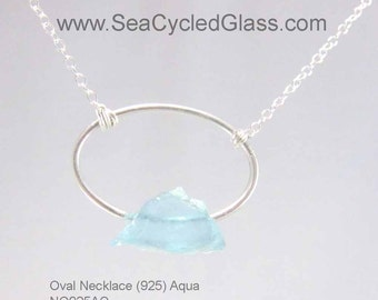 Necklace with Turquoise / Aqua Bermuda sea glass mounted on Sterling Silver oval, chain and toggle clasps (NO925B-NSSY)
