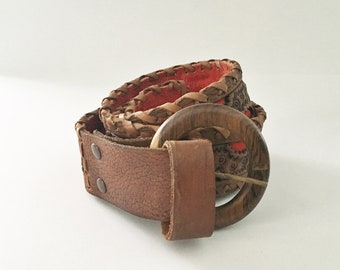 Leather belt tooled belt Red Leather Mexico 1960s Western Belt