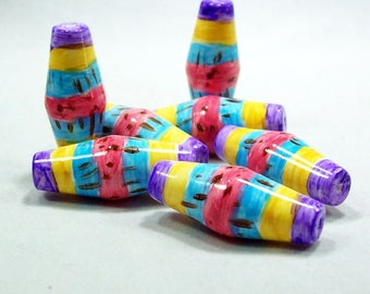 Handmade Polymer Clay Beads - Hand Painted