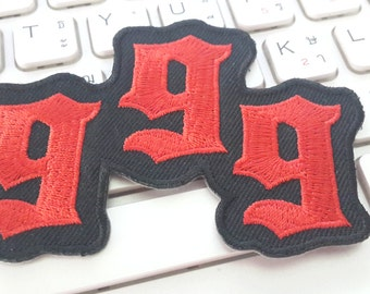 999 Iron on patch - Red 999 Applique Embroidered Iron on Patch