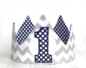Boy First Birthday Crown First Birthday Hat First Birthday Party Fabric Crown classic birthday hat Photo Prop cake smash outfit gift