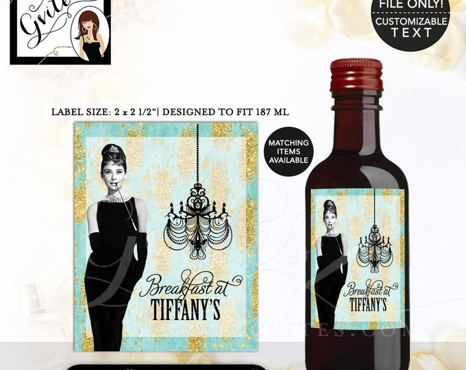 "MINI WINE bottle labels, stickers, wine bottle label Audrey Hepburn Party PRINTABLE 2x2.5"" 12 Per/Sheet."