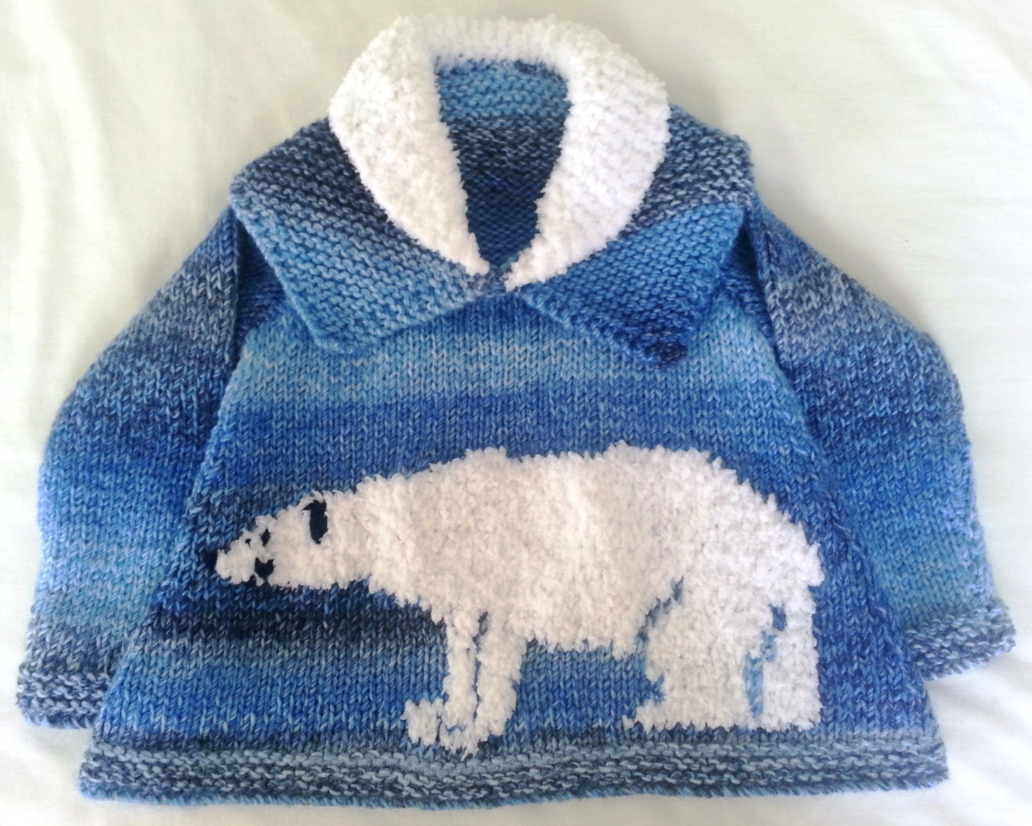 Childrens Sweater Knitting Pattern with Polar Bear, Polar Bear ...