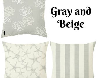 Home decor, Grey Beach pillow, starfish pillow, seahorse pillow, coastal pillow, beachgray euro sham, greygray euro sham
