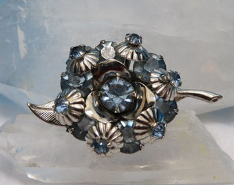 Vintage Flower Brooch with Pale Blue Rhinestones