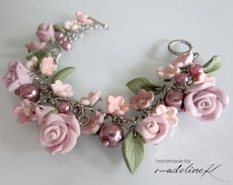 Purple Flower Bracelet, Handmade Polymer Clay Flower Bracelet, Gift For Her, Purple Wedding Bracelet, Lavender Flower Charm Bracelet
