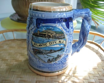 Vintage Mug Stein, Atlantic City, Souvenir Beer Stein, Jersey Shore Beaches, Collectible Vintage, Eco Friendly, Reclaimed Vintage