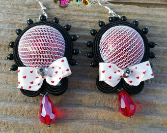 Soutache earrings, red, black, cabochon, handmade, strass, thread, , modern style, sutasz, glam style, rosso, bow, fiocco, chic, classic