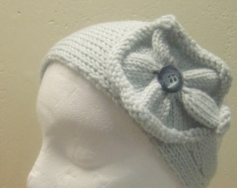 "Knitting Pattern ""Blossom"" Flowered Head Band"