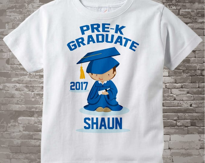 Boy's Personalized Pre-Kindergarten Pre-K Graduate Shirt Graduation Shirt Child's Back To School Shirt 05022014c