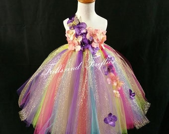 Rainbow Fairy Flower Girl Dress / Flower Girl / Princess Dress / Formal Dress / Festival Clothing / Bridesmaid Dress / Girls Dresses / Fairy