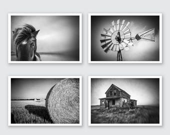 Farm Photography Set black and white, Rustic Print Set, country Wall Art, Farmhouse Artwork, Country Photograph, farmhouse print, Farm Decor