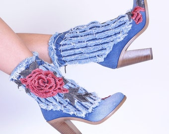 Women's shoes with heel jeans fabric ladies boots denim handmade Boots roses design