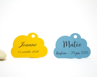 10 cloud, 3 x 4.3 cm, personalized labels for your baptism favors