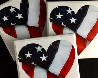 American Flag Coasters-American Flag Heart coasters-USA gift-Proud American-patriotic gift-USA coasters-military gift-Red White and Blue