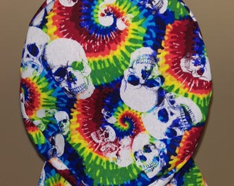 Hair wrap , Scrub Cap , Women's  , tie dye colorful skulls Skelton