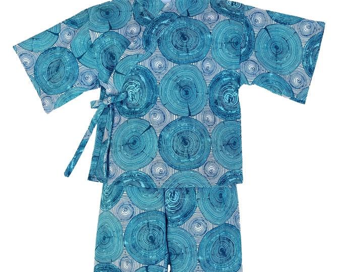Kids Kimono Jinbei - TREE RINGS - Japanese pajamas loungewear kimono outfit pajamas