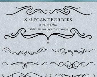 Dramatic Decorative Borders - 8 Brushes for Photoshop, Commercial Use