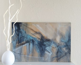 """Original Blue Abstract Acrylic Painting - 16"""" x 24"""""""