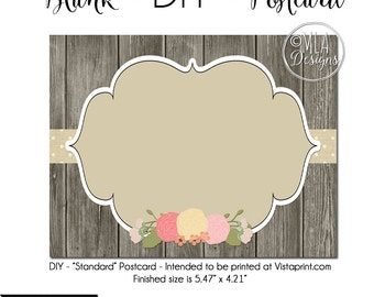 DIY Vistaprint Standard Size Postcard, Vintage Charm, Blank Template Instant Download - Notecard Inviation, Stationary, Party Invite