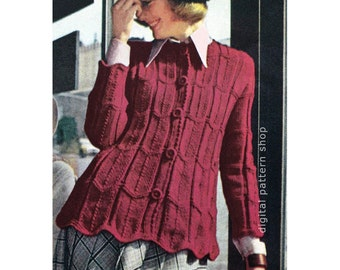 Womens Knit Sweater Pattern Ripple Sweater Jacket Knitting Pattern Vintage Jumper Cardigan Downloadable Pattern PDF - K54