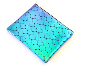 Mermaid Iridescent and Faux Leather Party Clutch - 8x10 with Metal Zipper - Makeup Bag / Pencil Bag