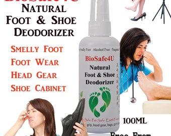 Natural Foot & Shoe Deodorizer - 100ml - No Fragrance - 100% Natural, Safe, Effective.