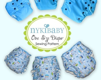 NykiBaby One Size Fits All Pocket Diaper Pattern- PDF Pattern