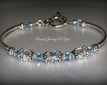 Bridal Party Gift Set of EIGHT: Light Sapphire Crystal Jewelry, Sapphire Blue Jewelry, Blue Crystal Bracelet, Bridesmaid Gift,Something Blue