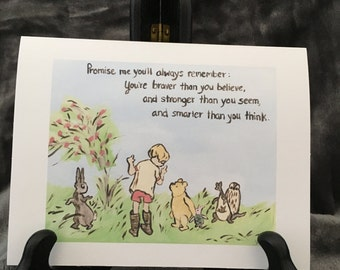Encouragement Card Fighting Cancer Surgery Breast Cancer Classic Winnie The  Pooh Quote Braver Inspire Saying Goodbye