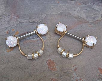 Opal Glitter Gold Nipple Ring Nipple Piercing