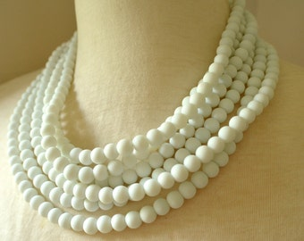 Michelle - White Matte Rubber Bridesmaid Multi Strand Statement Necklace