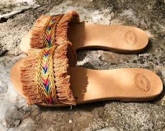 "Slide Sandals /  Boho Leather Sandals ""ZANZIBAR"" / Tan Cotton Fringe Lace / Jute Lace / Handmade Greek Leather / Strappy Leather Sandals"