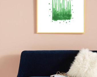Green grass in field, abstract modern, minimalist art, nature print