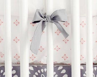 Harper in Coral Crib Baby Bedding | Crib Sheet