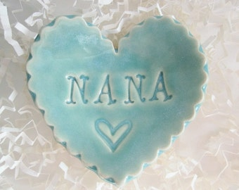 Best Nana gift, unique Mothers day gift, heart ring holder, heart ring dish, In Stock