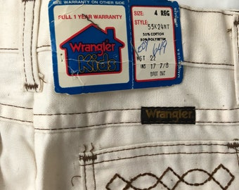 vintage wrangler boy's off white boot cut jeans size 4 deadstock NWT 70s made in USA