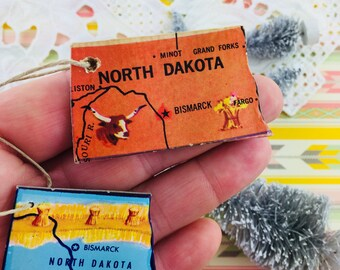 North Dakota State Ornament Vintage