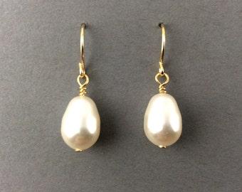Pearl Earings Bridal Pearl Earrings With 12mm White Teardrop Swarovski Crystal Pearls - Pick Your Pearl Color